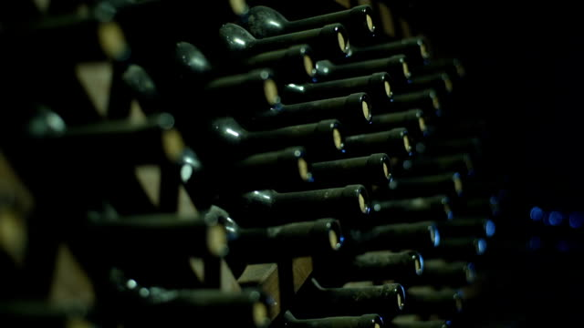 Stacked Up Wine Bottles In The Cellar video