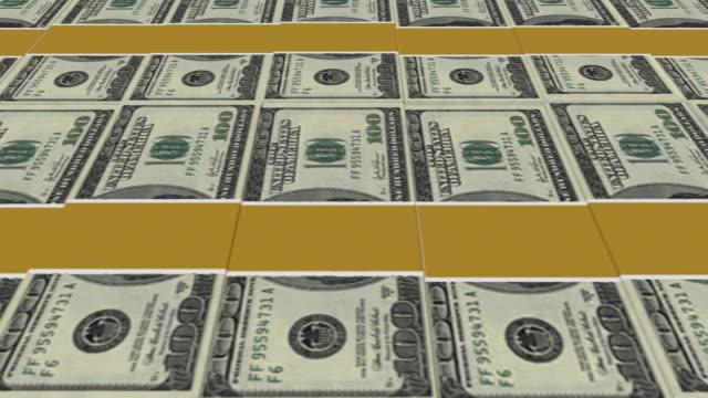 stapel von 100-dollar-scheine-endlos wiederholbar, hd - inflation stock-videos und b-roll-filmmaterial