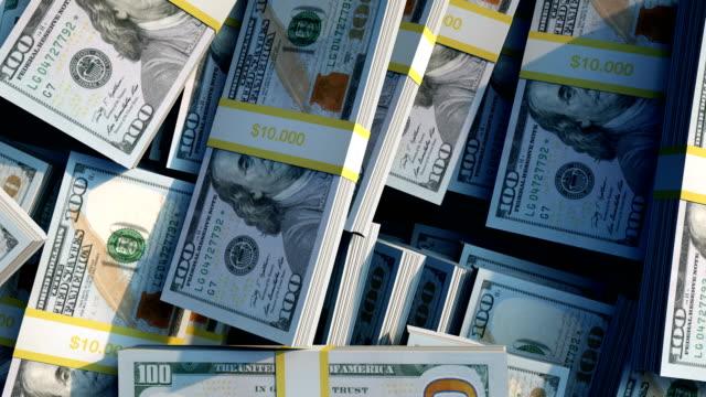 stapel neuer 100-dollar-rechnungen - dollarsymbol stock-videos und b-roll-filmmaterial