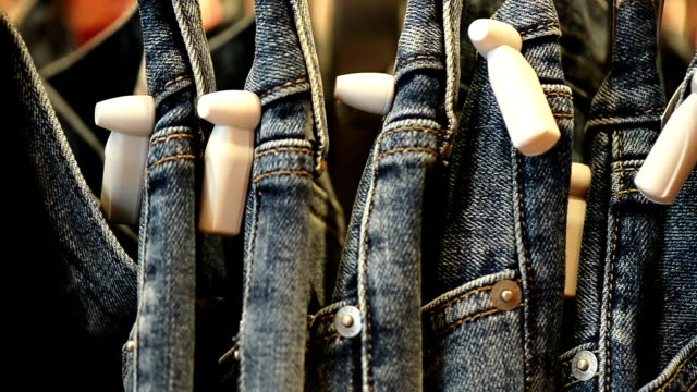 Stacks Of New Blue Jeans In The Store video
