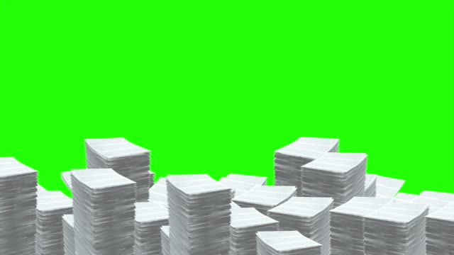 Stacks of Paper Pile Up video