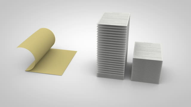Stacks of Paper Rise and Place Neat in File video
