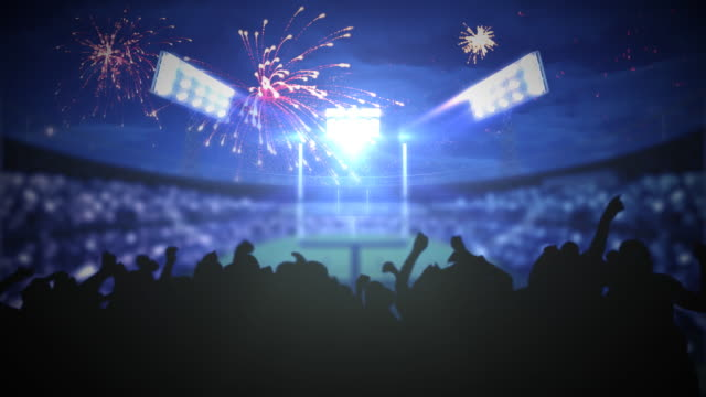 Stadium fireworks explode over excited crowd video