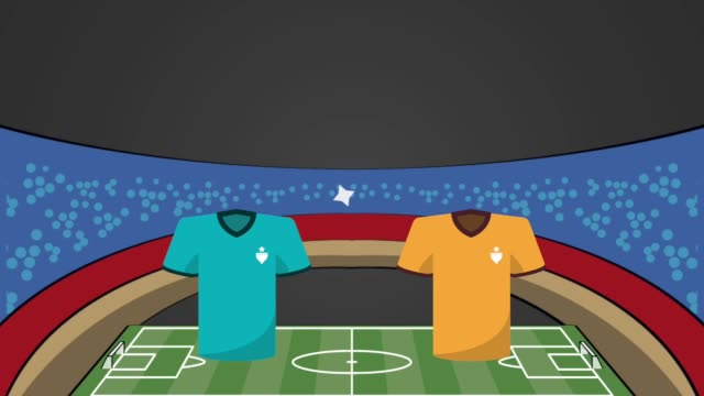 stadium with uniforms soccer match versus teams animation video