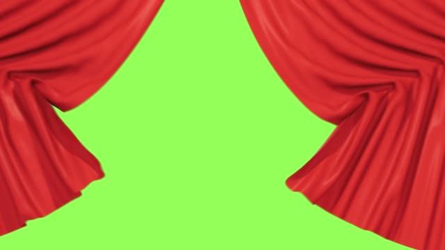Stage Curtain Opening. Isolated with luma matte alpha 3D Rendering