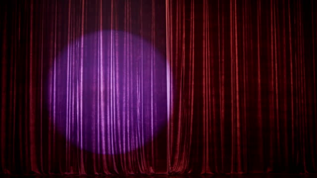 stage curtain with spot - sipario video stock e b–roll
