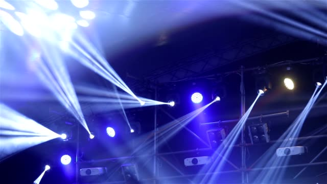 Stage lights at the concert with fog, Stage lights on a console, new year party video