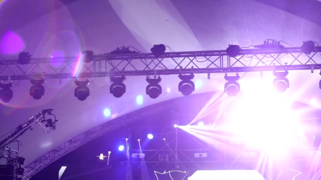 Stage lights at the concert with fog, Stage lights on a console, Lighting the concert stage, entertainment concert lighting on stage, new year, christmas, new year holidays video