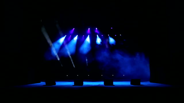 Stage lights with smoke on concert. video
