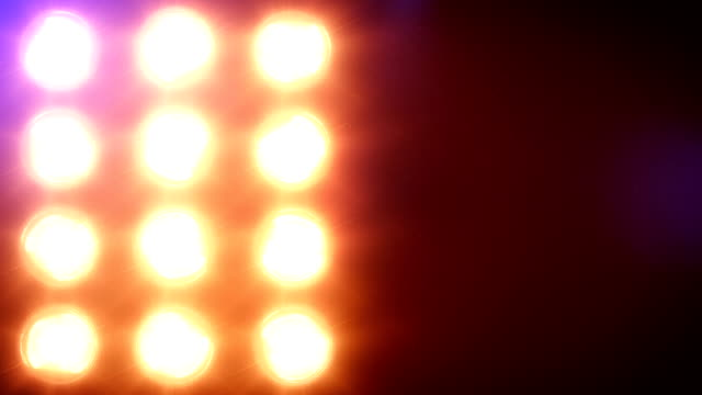 Stage lights, with sound. Mixed. Close-up. video