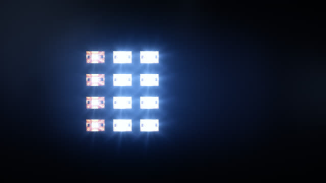 Stage lights, with sound. Square. Blue/amber. video