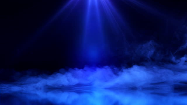 stage with magic smoke and blue rays animation - blue video stock e b–roll