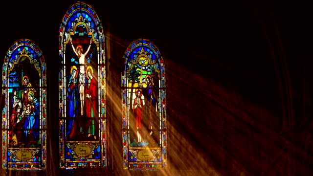 stained glass light rays - cathedrals stock videos & royalty-free footage