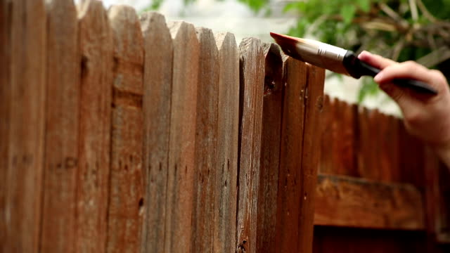 stockvideo's en b-roll-footage met staining - fence