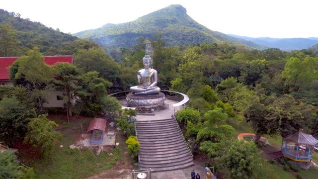 空中ビデオ リモート地区グリーン フォレスト間でステンレス仏 - 仏塔点の映像素材/bロール