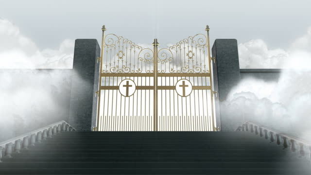 Staircase towards heavens golden gates opening video