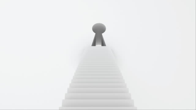 Stairs with steps leading to the keyhole, computer graphics abstract background, 3D rendering Stairs with steps leading to the keyhole, computer graphics abstract background, 3D rendering backdrop keyhole stock videos & royalty-free footage