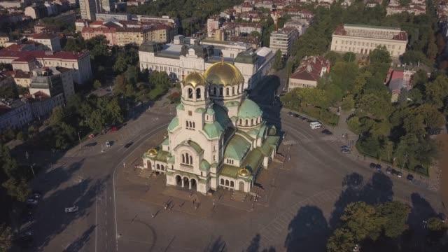 st.alexander nevsky sofya katedrali, 4k video robot. - estonya stok videoları ve detay görüntü çekimi