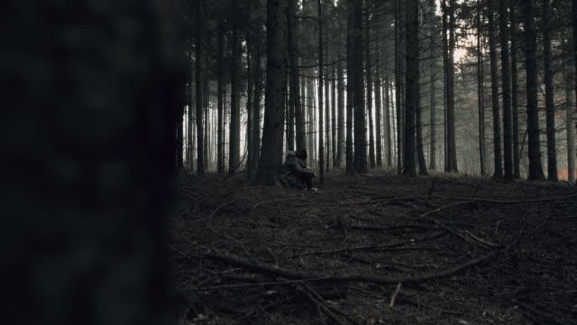 pov di stalker guardando giovane donna perduta nella foresta - donna si nasconde video stock e b–roll