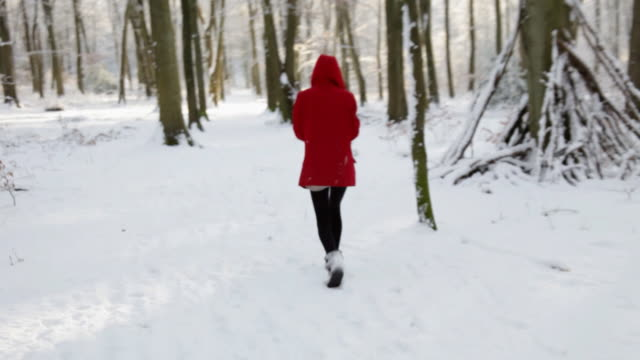 stalking girl in red hood - endast en tonårsflicka bildbanksvideor och videomaterial från bakom kulisserna