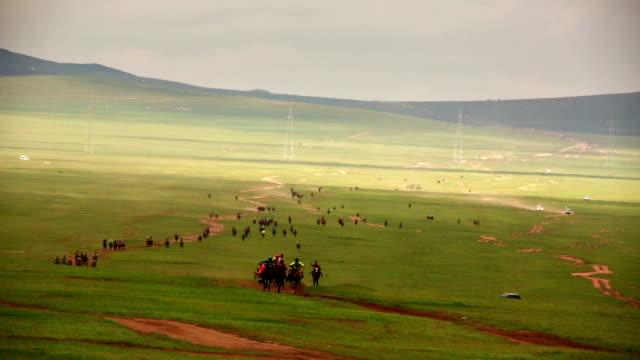 stallion horse race 2013 finaler, mongoliet - racehorse track bildbanksvideor och videomaterial från bakom kulisserna