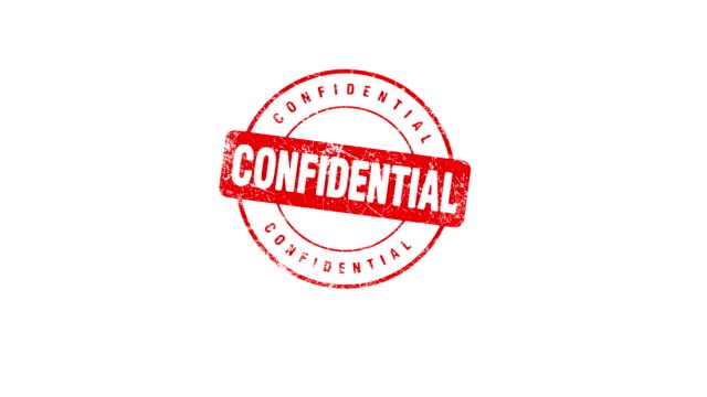 CONFIDENTIAL stamp Hand presses a CONFIDENTIAL stamp. Contains matte. stamp stock videos & royalty-free footage