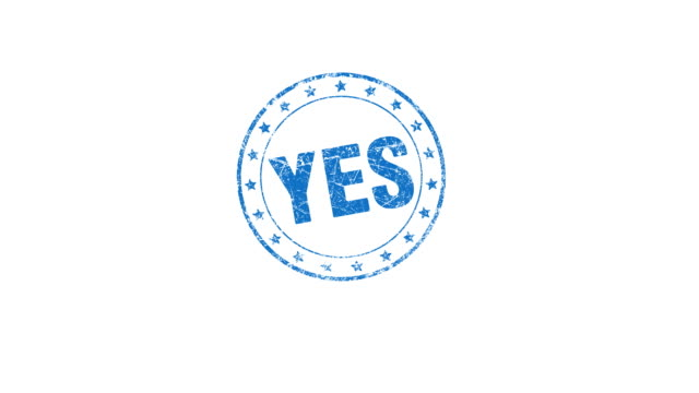 YES stamp Hand presses a YES stamp. Contains matte. stamp stock videos & royalty-free footage