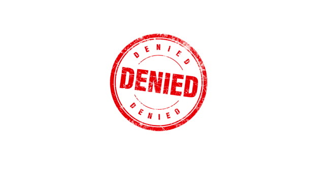 DENIED stamp Hand presses a DENIED stamp. Contains matte. stamp stock videos & royalty-free footage