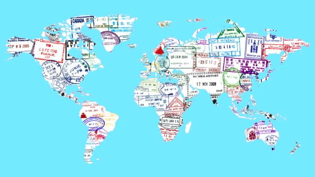 vídeos y material grabado en eventos de stock de mapa del mundo del sello - pasaporte y visa