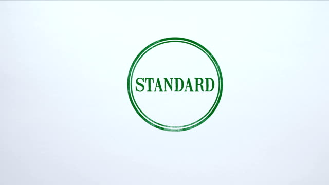 Standard seal stamped on blank paper background, global compliance, service Standard seal stamped on blank paper background, global compliance, service representing stock videos & royalty-free footage
