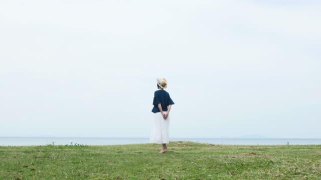アジアの女性を立ち、背面図 - 全身点の映像素材/bロール