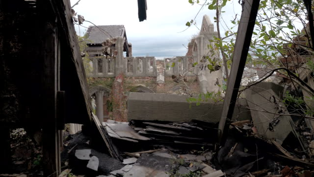 FPV: Standing on the collapsing roof of abandoned City Methodist Church, Gary video