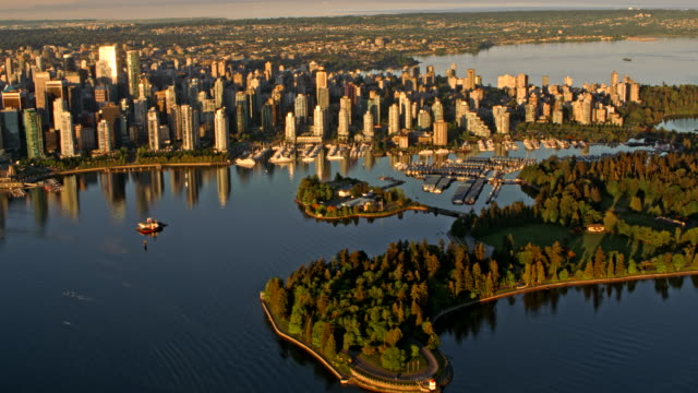AERIAL Stanley Park and Vancouver city at sunrise Aerial shot of the Stanley Park and city of Vancouver lit by the rising sun. Shot in Canada. vancouver canada stock videos & royalty-free footage