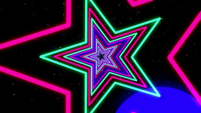 Star Colorful Neon Streaks Loop Backgrounds video