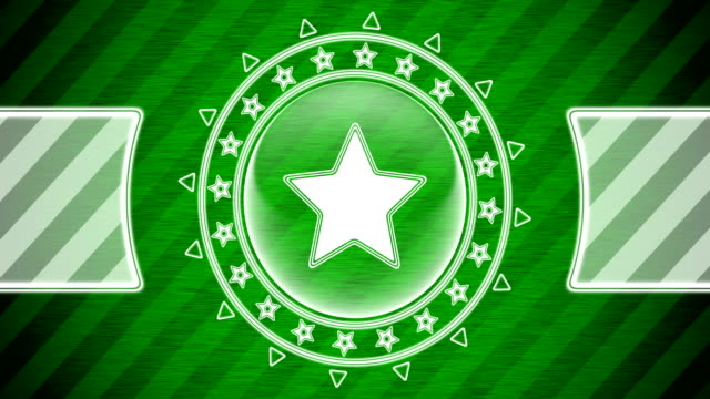 Star icon in circle shape and green striped background. Illustration.