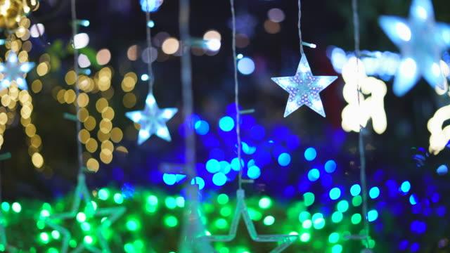 star led işık dekorasyon - süslü püslü stok videoları ve detay görüntü çekimi