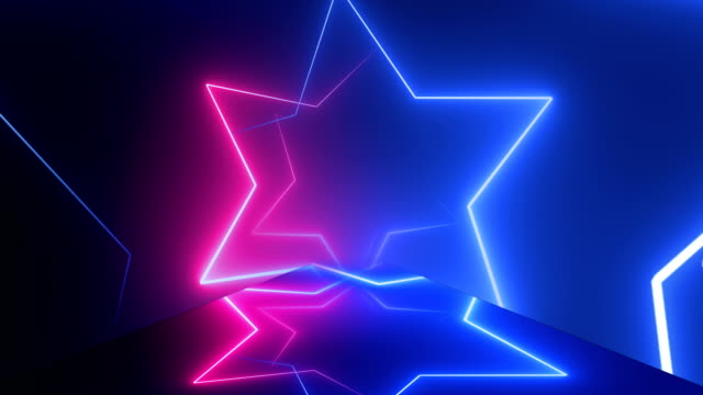 Star Shape, Flight through neon tunnel, moving fashion podium, abstract background, spinning frames, virtual reality, glowing lines, Multi Colored, Loopable 4K