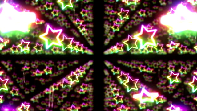 Star Spin Motion Background, Rainbow Colors Loop Animation, video