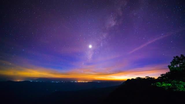 star time lapse, vintergatan galaxen flyttar över natthimlen - nightsky bildbanksvideor och videomaterial från bakom kulisserna