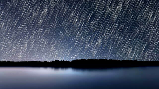 Star Trails, Beautiful Blue Night reflection video