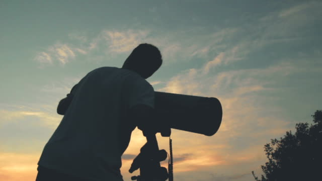 Stargazing with a telescope. video