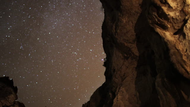 starry night on the coast. view from mountain cave - speleologia video stock e b–roll