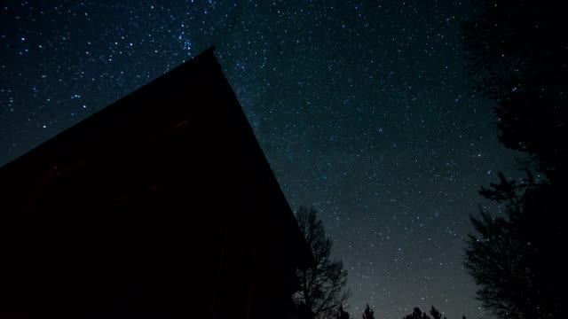 Starry Night Sky Time Lapse With Wood Cabin in Foreground