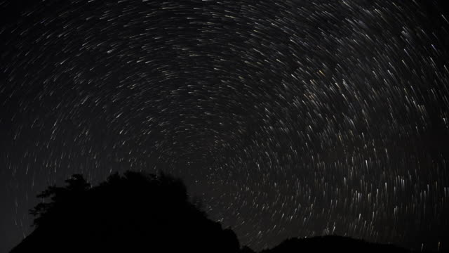 Starry sky meteor shower 4K DCI