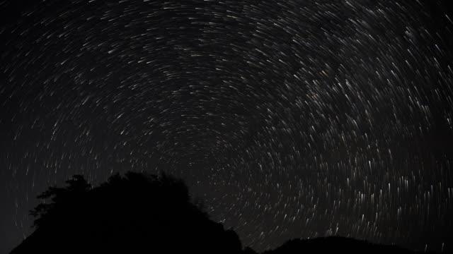 starry sky meteor shower 4k dci - cielo stellato video stock e b–roll