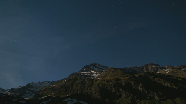 Starry sky over Italian Alps, time lapse video