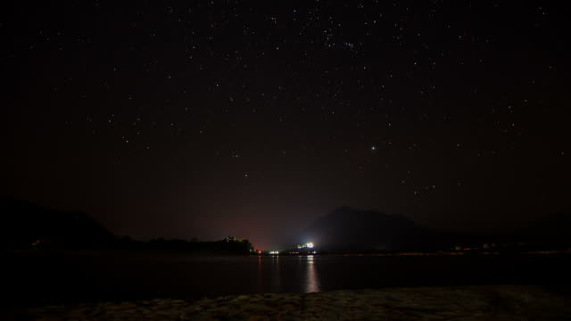 Starry Sky with Moon Rise over Mountain lake video