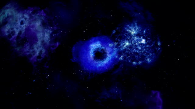 Stars and Galaxies. Loopable. Blue. Space background: nebulas, stars, comets. video