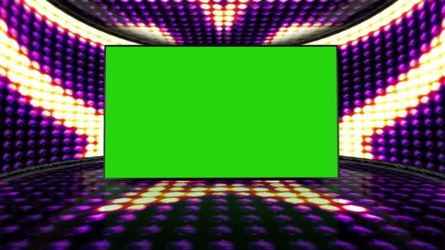 Stars Bulb Lights Room Background with Green Screen, Loop video