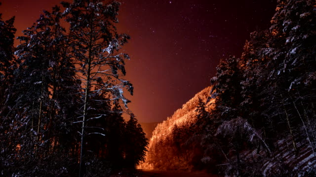 Stars in the night sky in the winter in the mountains. video